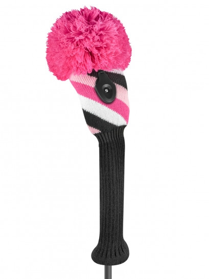 Just4Golf Diagonal Pink/Black Stripe Fairway Headcover