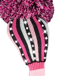 Just4Golf Sparkle Pink/White/Black Stripe Driver Head Cover