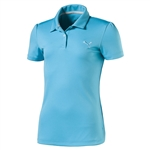Puma Youth Girls Pounce Short Sleeve Golf Polo - Blue Atoll