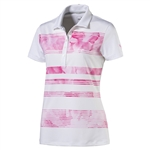 Puma Bloom Stripe Short Sleeve Golf Polo - Shocking Pink