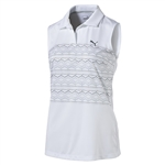Puma Sleeveless 18 Hole Golf Polo - White/Black
