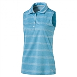 Puma Pounce Stripe Sleeveless Golf Polo - Blue Atoll