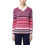 Puma Depths V-Neck Golf Sweater - Peacoat/Shocking Pink