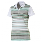 Puma Road Map Stripe Golf Polo - Bright White/Aquarius