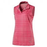 PUMA Sleeveless Soft Plaid Golf Polo - Bright Plasma