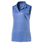 PUMA Sleeveless Soft Plaid Golf Polo - Nebulas Blue