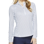 GG Blue Ellen Long Sleeve Mock - Navy Dot