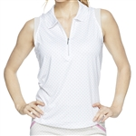 GG Blue Katy Sleeveless Golf Polo - Khaki Dot