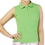 GG Blue Leah Sleeveless Golf Polo, Turtle Green