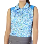 GG Blue Dessa Sleeveless Golf Polo - Waves