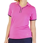 GG Blue Kat Short Sleeve Cerise Golf Polo