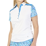 GG Blue Dylan Short Sleeve Golf Polo - White/Waves