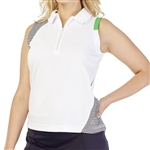 GG Blue April Sleeveless Golf Polo - White