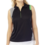 GG Blue April Sleeveless Golf Polo - Black
