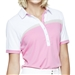 GG Blue Kesha Short Sleeve Golf Polo - White/Rosé/Khaki
