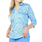 GG Blue Fiona 3/4 Sleeve Polo - Waves