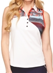 GG Blue Luna Sleeveless White/National Golf Polo