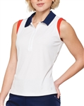 GG Blue Ivy Sleeveless White/Navy Golf Polo