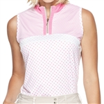 GG Blue Bianca Sleeveless Golf Mock - Pink Print