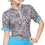 GG Blue Gwen Short Sleeve Golf Mock - Cheetah/Sparkle