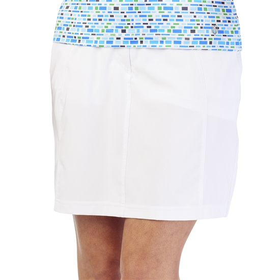GG Blue Wedge Golf Skort - White