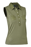 Daily Sports Gina Sleeveless Polo - Khaki Green