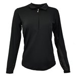 SanSoleil SunGlow UV50 Long Sleeve Polo - Black