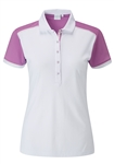 PING Allura Short Sleeve Golf Polo - White/Berry