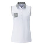PING Haiden Sleeveless Polo - White / Mineral Marl Multi