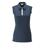 PING Harmony Polka-Dot Jacquard Sleeveless Golf Polo - Navy