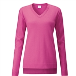 PING Dropped-Hem V Neck Sweater - Hot Pink
