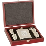 Kirk & Matz Stainless Steel Flask & Wood Box Set