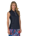 Carmel Sleeveless Polo - Navy