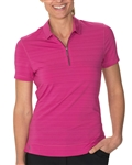 Chase54 Floresta Barcode Stripe Short Sleeve Polo - Ruby