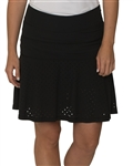 Chase54 Perforated Fringe Flounce Golf Skort - Black