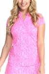 EllaBelle Perfection Short Sleeve Top - Pink Python