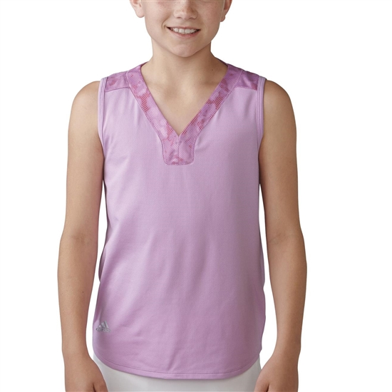 Adidas Girls Essential Mixed Print Polo -  Wild Orchid