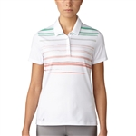 Adidas Merch Stripe Polo - Haze Coral/Core Green