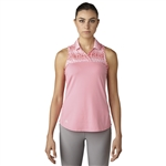Adidas Printed Sport Mesh Sleeveless Polo - Easy Pink