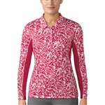 Adidas 3-Stripes Long Sleeve Printed Energy Pink Polo