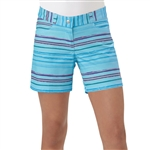 Adidas Girls Blue Glow Paint Stripe Golf Short