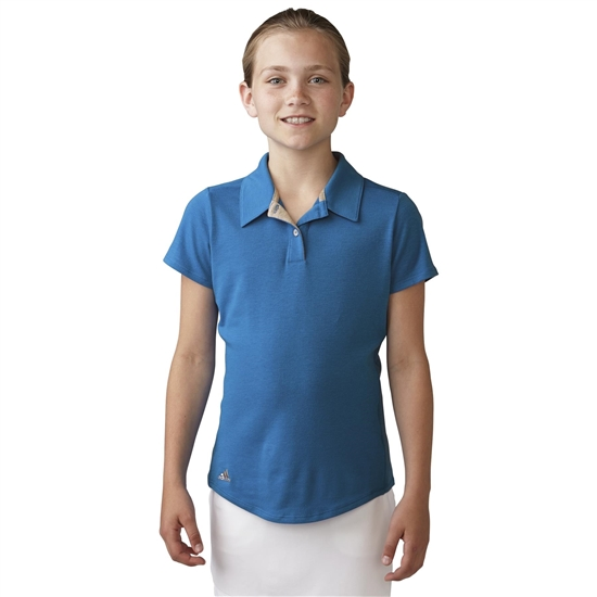 Adidas Girls Essentials Heather Short Sleeve Polo - Shock Blue