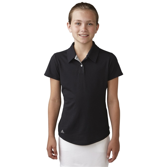 Adidas Girls Essentials Heather Short Sleeve Polo - Black