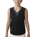 Adidas Girls Essential Mixed Print Polo - Black