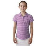 Adidas Girls Essential Cotton Hand Stripe Golf Polo - Wild Orchid