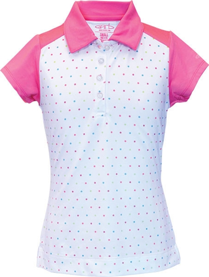 Garb Faith Short Sleeve Polo - Pink Polka Dot