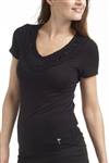 Golftini Embroidered V-Neck Tee Black