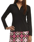 Golftini Long Sleeve Ruffle Tech Polo Black