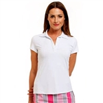 Golftini Short Sleeve Ruffle Tech Polo - White