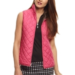 Golftini Quilted Reversible Wind Vest - Hot Pink/Black
